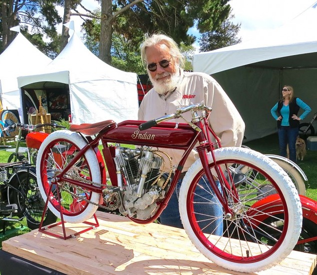 There be giants here? No, it's a 9/16-scale 1914 Indian racer built by Rick Creese, a partner with Gary Davis at Trackmaster. And yes, it runs.