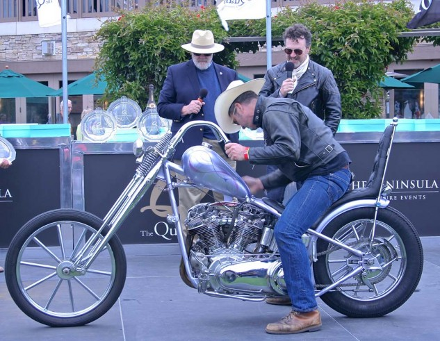 Top of the chops award went to Dave Shaw's 1966 Harley FLH.
