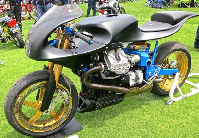 The subdued treatment is a nice touch on David Asman's Ghezzi-Brian 1250 ProThunder Moto Guzzi.