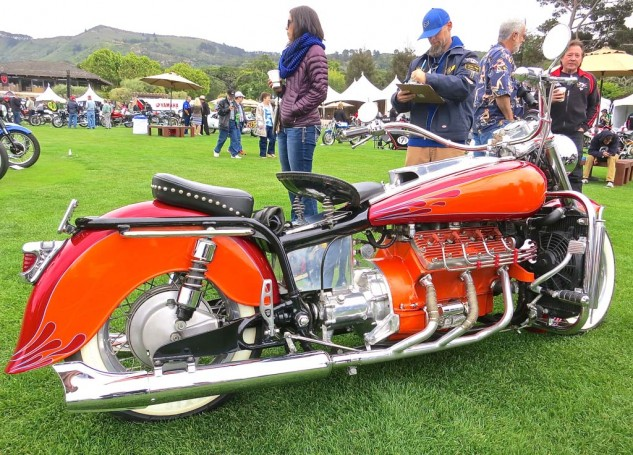 John Handy's Moto Guzzi/Ford flathead hybrid was entered in the Custom/Modified class, inspected here by judge Clay Murphy.