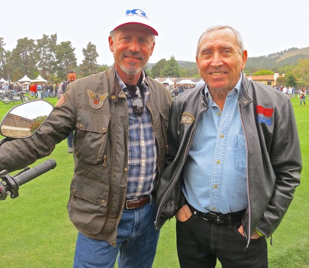 Why wouldn't these men be smiling? Racer Thad Wolff (left) and prosthesis engineer (and famed dirt-tracker) Mert Lawwill.