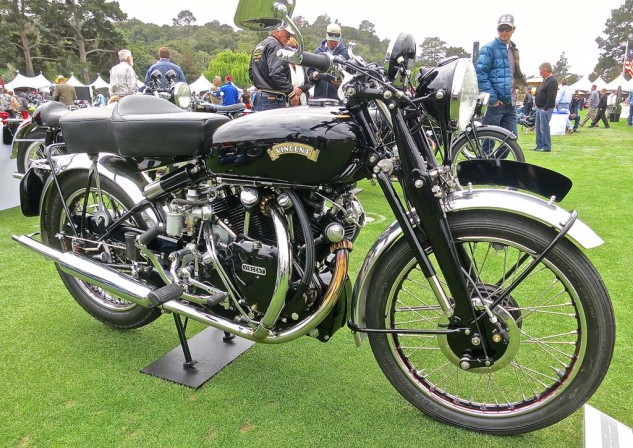 The 1951 Vincent Black Shadow owned by Michael Begley. Another Shadow, owned by car racer of some repute Danny Sullivan, won first place British.