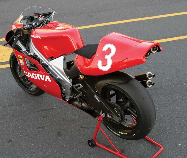 The carbon-fiber swingarm is reputed to have cost $100,000 to build in 1994.