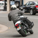 With the longest wheelbase, lowest seat and fattish tires, the Vulcan S makes a tough-guy statement it reinforces by kicking your butt with the worst rear suspension. It's great on smooth pavement like this.