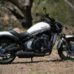"""""""The Harley has the most traditional profile, but if postmodern-cruiserism is what you're after, the Vulcan S has an attractive profile, and I personally like the white with minimal green accents."""" –T. Roderick. Note the big plastic cover (with genuine brushed aluminum insert) right below the shock that covers up all the ugly stuff that's exposed on the Harley."""