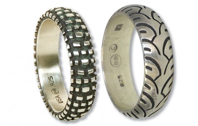 These sterling silver rings retail for $109 from Aerostich.