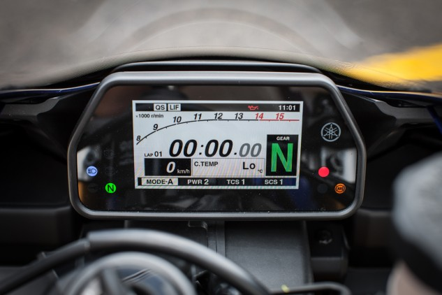 It wasn't that long ago that only race bikes had dashboards as sophisticated as the one on the new R1.