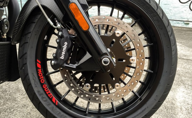 The Brembo calipers and 320mm discs were more than capable of hauling the 700 lbs of Audace down from speed.