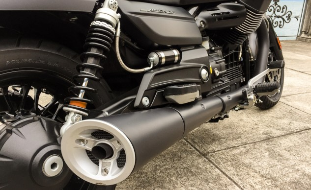 The Audace's muffler has the same lines as other California models, but it is much shorter and has a throatier note.