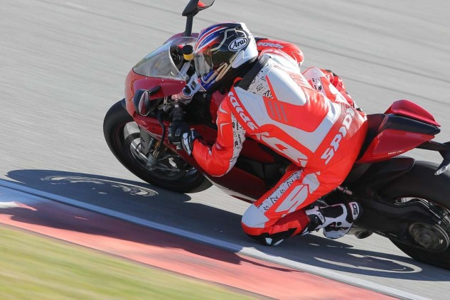 The Spidi Track Wind Replica is otherwise the same as the Pro except for a $200 premium. It's a reproduction of the suit worn by Ducati MotoGP racer Andrea Dovizioso and was a perfect match for Ducati's 1299 Panigale. Note the three vents on either side of the speed hump that extract air to help cool a rider.
