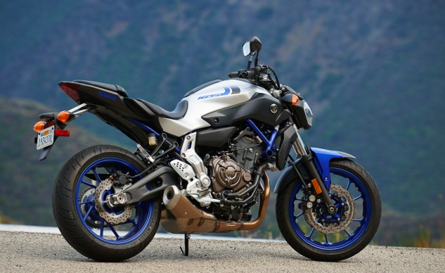 The Matte Silver FZ-07 sports cool blue frame components and wheels.