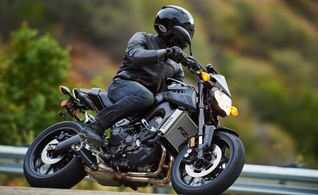 The FZ-09's improved EFI makes backroad thrashing even more fun.