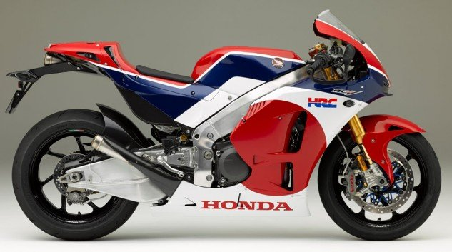 "You can get your RC in unpainted carbon fiber, or Tricolor. Honda says: ""Red symbolizes the passion and determination of people putting a lot on the line for victory, Blue stands for theory-based technological strengths, and White symbolizes all the customers who love motor sports. As well as showing the pedigree of the RC213V-S, the tricolor design embodies our respect toward all customers and the continuous and ongoing glorious achievements of everyone associated with HRC. A motif of red circles symbolizing the rising sun are placed on the sides of the RC213V-S as proof of the manufacturer's passion and the challenging spirit of the R&D people who carry on the Japanese tradition of sophisticated manufacturing with careful attention to fine details."" Honda looked at 350 shades of red on previous models before settling on this one."