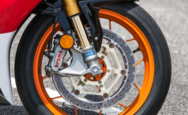 Brakes aren't of the M50 variety, but the radial-mount, monobloc Brembo M4s provide all the stopping power you can ask for on the street. In fact, the feel at the front brake lever is some of the best I've recently encountered. For street use, ABS would be a welcome addition but is available only on European models.