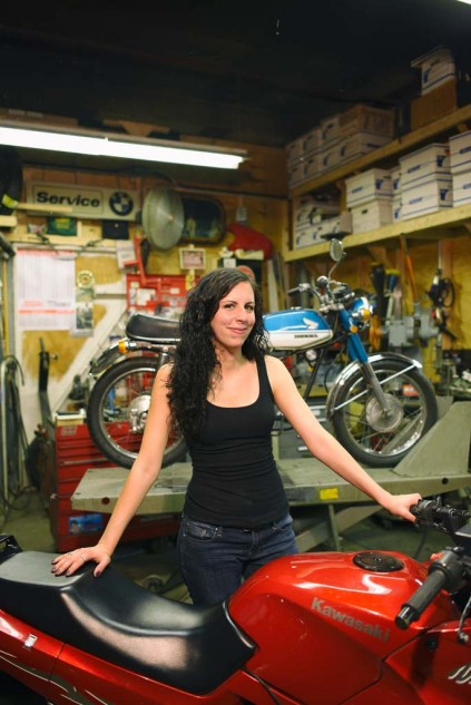Jen Hill and two-thirds of her collection. Apparently it is ok to ride a small bike. Photo by Juan Hernandez.