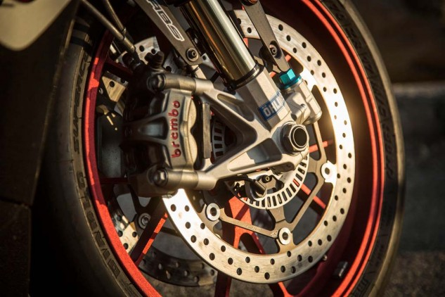"""""""Excellent brakes, just behind the Duc's stellar M50s,"""" says Duke. """"Very strong brakes, though the Ducati's were better,"""" concurs Siahaan."""