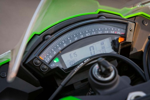 The ZX-10R's bar-graph tach is colorful and easy to read, but the LCD info window is on the smallish side.