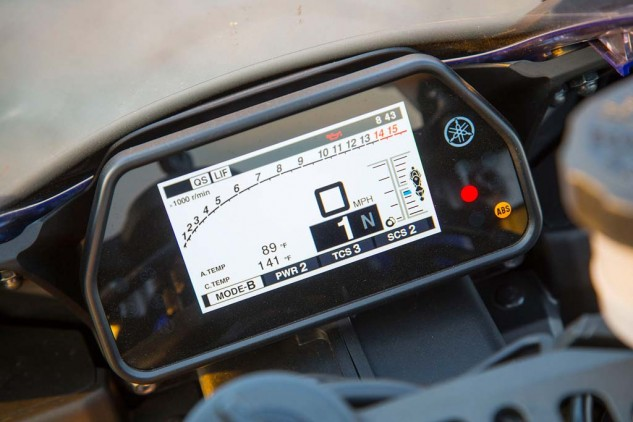 """""""The gauge cluster is bright, colorful and informative. I find that its menus and buttons are pretty easy to navigate, too, much more so than the Duc's,"""" says Siahaan. With an average 29.7 mpg, the R1 recorded the worst fuel economy, even running out of fuel during our first group fuel stop. Yamaha claims a capacity of 4.5 gallons; ours was filled to the filler neck (on its sidestand) after 4.25 gallons."""