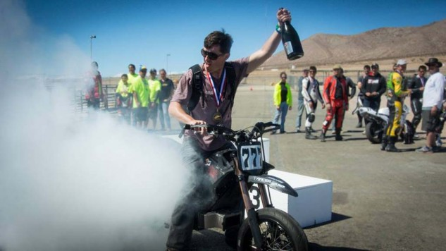 Jeff Clark, celebrating 24 hours of racing aboard his Zero FX with an electric burnout.