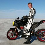 Brandon and his 2012 Zero S at the Bonneville Salt Flats, where he would set two land-speed records. Photo: Brandon Nozaki-Miller