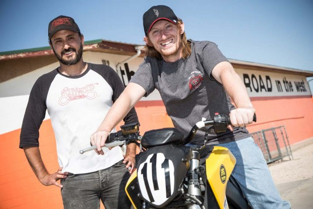 Harlan Flagg (left) and Brandon Nozaki-Miller make up two-thirds of a crew trying to push electric motorcycles to new heights.