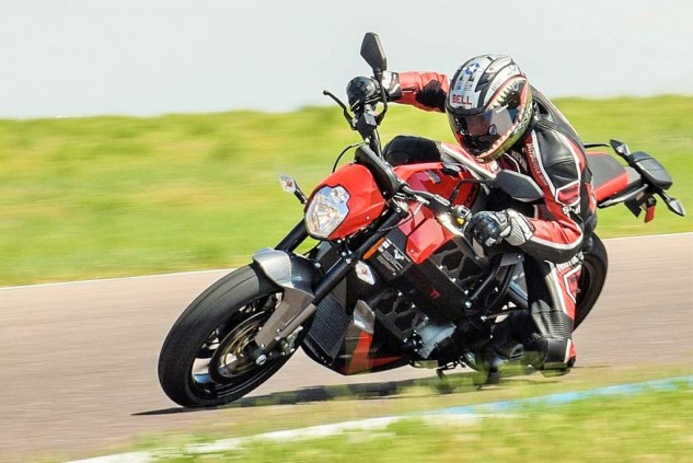 The Empulse TT's upright riding position is better suited for the street than the track, but the thing was a gas – ha! – to ride at High Plains Raceway.