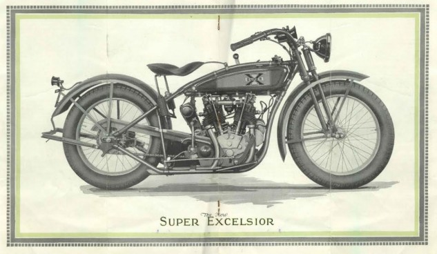 Brochure illustration of the 1925 Excelsior Super X. Note logo on the tank and distinctive front end.