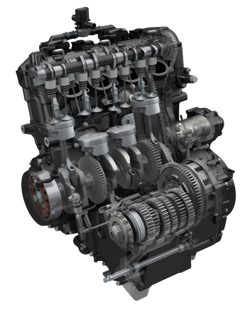 You don't get the old GSX-R1000 slipper clutch or its titanium valves. You do get 3%-lighter pistons and that classic angry/friendly snarl in a package crankshaft-rated at 145 horsepower, which will likely translate to near 130 horses at the wheel. You'll be expected to adjust the 30mm intake and 24mm exhaust valves every 14,500 miles. Alternator output is 385 watts, and heated grips and things are in the accessories catalog.