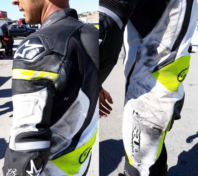 Here you can see where most of the damage was taken. Apart from some threads coming loose on the shoulder armor, the leather portion of the GP-Pro held up great. Note the leather accordion panel and reflective piping above the elbow.