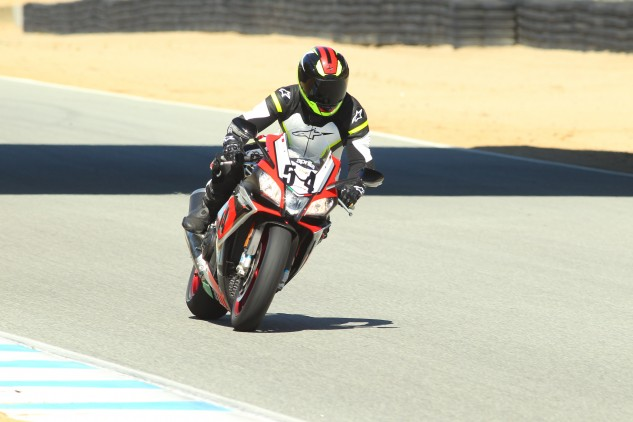 Siahaan, seen here, is 5-foot, 8-inches, 153 lbs., and even he makes the Aprilia look tiny. Apparently only small Italians named Max Biaggi look proper aboard the RSV4.