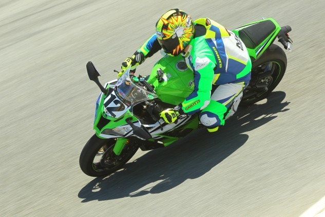 Because the ZX-10R isn't bright enough in its 30th anniversary color scheme, Sean took it upon himself to up the brightness level with his custom Gimoto leathers.