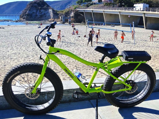 Yes, it is a bicycle. But it has a motor. An electric beach cruiser at the beach, with a beach volleyball backdrop. A possibility for the Avila Beach Chamber of Commerce calendar.