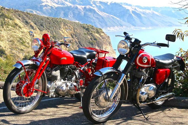 The mechanicals of old British motorcycles all but guarantee a swell portrait. The Vincent and Norton stand in stately repose, and the panorama of the Big Sur coastline doesn't hurt either.