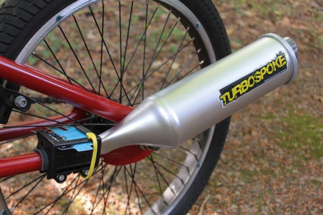 We've been eyeing the Turbospoke bicycle exhaust system for an upcoming electric bike shootout.