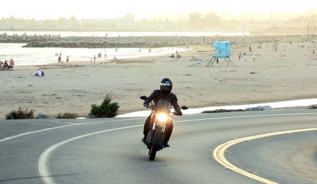 Schwebke says the calm tranquility that comes from riding an electric motorcycle reminds him of the peace he finds from being near the ocean.