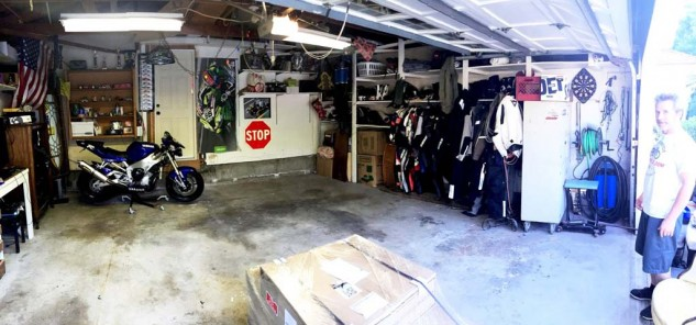 I should probably notify the EPA before disturbing my 52-year-old garage floor. But then, why disturb it? Better to cover it and pretend it never existed. The pallet with our boxes of RaceDeck showed up right on time.