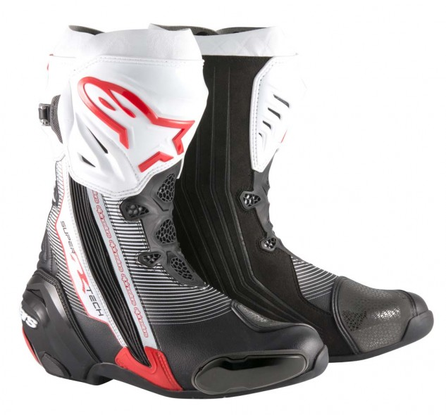 Innovations in the new Supertech R boots are numerous and include better flexibility, improved abrasion protection, a new toe slider design, a newly redesigned compound rubber sole, an update to the ergonomically profiled shinplate, redesigned front flexibility, new, soft TPU stretch panels, and inner booties that now incorporate 20% fiberglass into the ankle protectors. Supertech R boots are CE certified to EN 13634:2010 specifications. Color choices include Black, Black/White, Black/White/Red (pictured) and Black/White/High-vis. Sizes: 39-48. MSRP: $499.95.