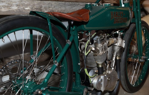"""I'm not a Harley guy,"" says Talbott. ""But I had to have this one – a 1922 board track racer."""
