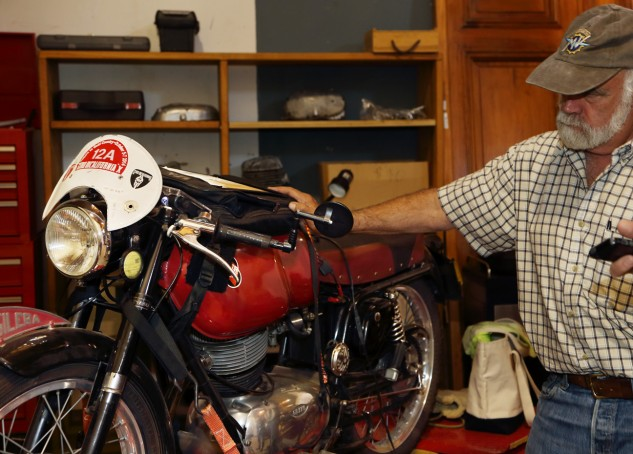 """This is my Motogiro bike,"" says Talbott of his 1956, one-cylinder Gilera 175 Sport. ""It did 550 perfect miles. I put it together myself, in about a week, and I'm going to run it again this September. I love these little bikes. It's like going back to where I started in motorcycling."""