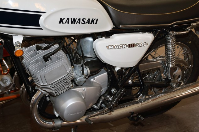 """They called this the widowmaker,"" says Talbott of the scary-fast and ill-handling 1969 Kawasaki H1 Mach III 500. ""I bought this from a soldier at Fort Carson, Colorado. He said it almost killed him. I had one back then, and it almost killed me, too."""