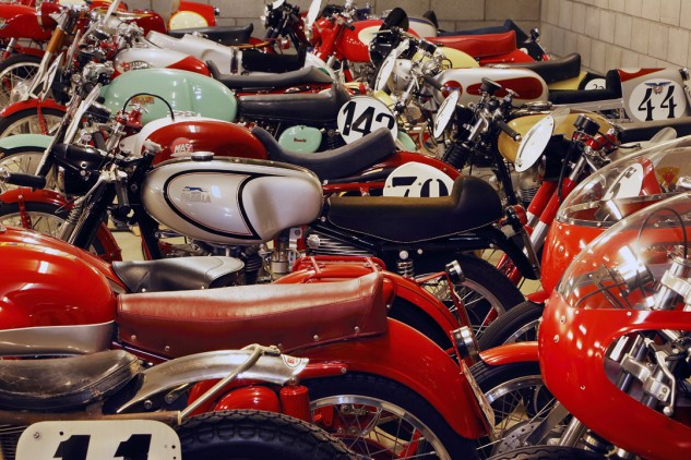 Little Italian screamers hold a special fascination for Talbott, who's a veteran of the famed Motogiro event. All have number plates, displace less than 175cc, and date from '51 to '57. Molto bello.