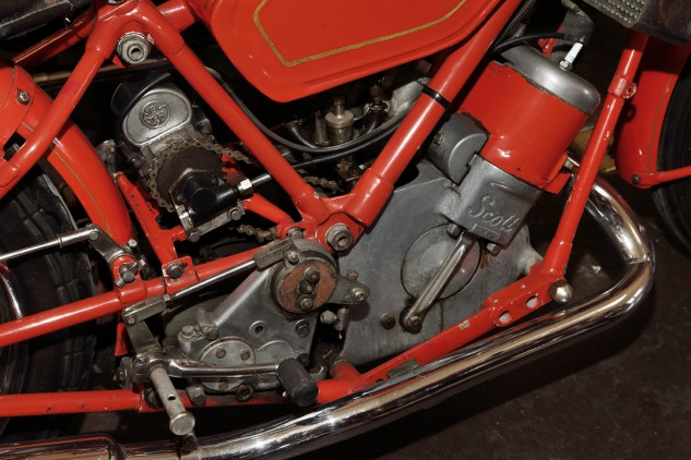 "Long before the water-cooled, two-stroke Suzuki Water Buffalo, there was the Scott Flying Squirrel. ""It's so cute,"" says Talbott of this 1938 example. ""It's beat up just the right amount. I love the patina."""