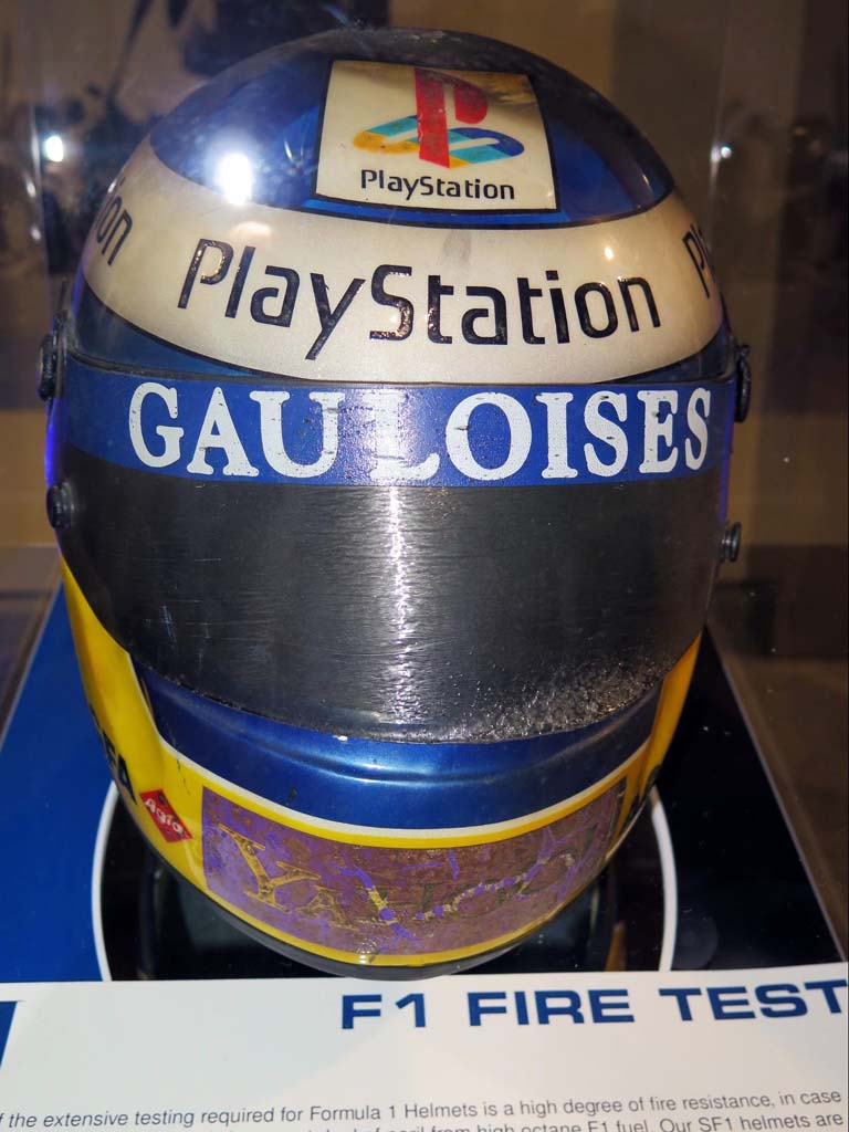 Is this it? No, this is one of Schuberth's F1 helmets after being subjected to the old Ricky Bobby open-flame test. The internal temperature must not exceed a certain number, for a certain length of time. Schuberth sponsors five F1 drivers.