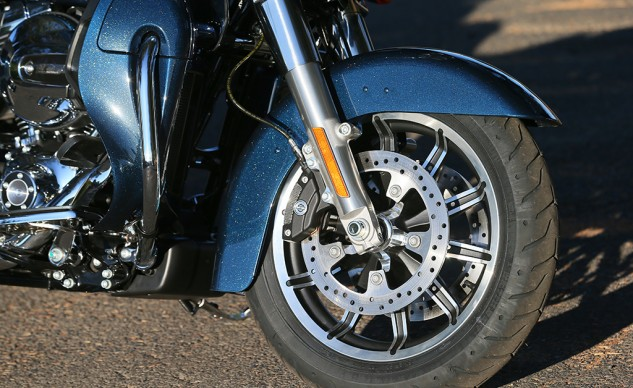 The Road Glide Ultra receives new wheels in the Impeller design.