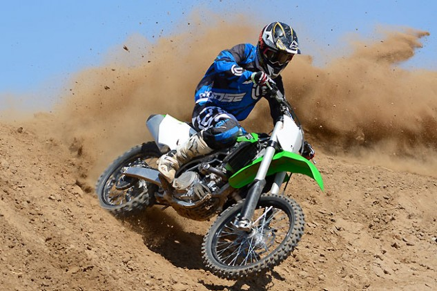 Test rider Ryan Abbatoye liked the new KX450F, noting that its strong mid-range power and extremely precise steering are definite improvements over the 2015 model.