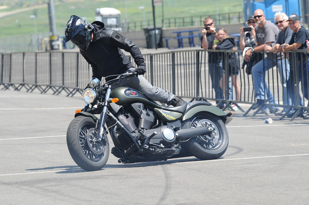 Victory's new stunt team of Tony Carbajal and Joe Vertical (pictured) is another tactic for Victory to reach a younger demographic who is excited by performance. Photo by Barry Hathaway.