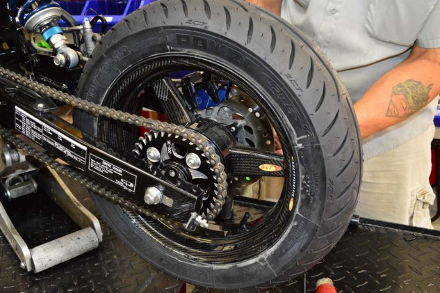 Perhaps the single item we were most excited about utilizing were the BST carbon fiber wheels for the Grom. Compared to the OEM wheels weighing 5.8 lbs (front) and 6.9 lbs (rear), the BST wheels weigh 3.95 lbs and 4.4 lbs, respectively, for a whopping 32% weight drop in front and an impressive 36% drop in the rear. Brock's Performance sends the wheels with the Michelin Power Pure tires pre-mounted and filled with nitrogen. Also note the Vortex rear sprocket. Per the recommendation of other Grom teams, it was determined a 36-tooth sprocket in the rear (34-tooth stock) and 14-tooth in front (15-tooth stock) would be optimal for the Grange Motor Circuit we would be competing at.