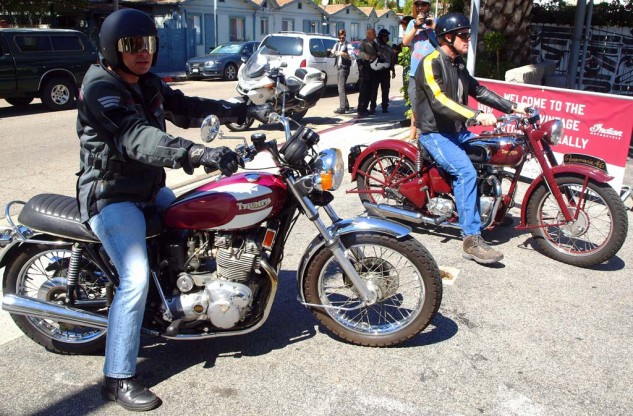 Best Pair of Triumphs with One Named Rosemarie. This pair of riders arrived on a last-year-of-production 1975 750cc three-cylinder Trident T160V and a 1946 hardtail 500cc Speed Twin, a classic superstar of the British marque.
