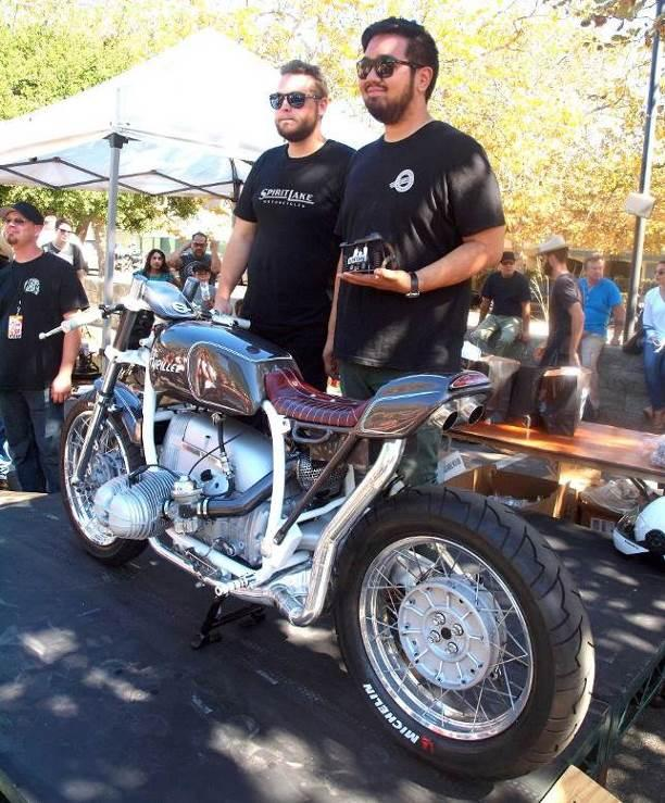 The Spirit Lake team of Brian Sloma and Ken Chan receive trophy for VVMC Best Café Racer. The guys live in their shop so actually embody the live, breathe, eat, sleep, dream motorcycle mantra.
