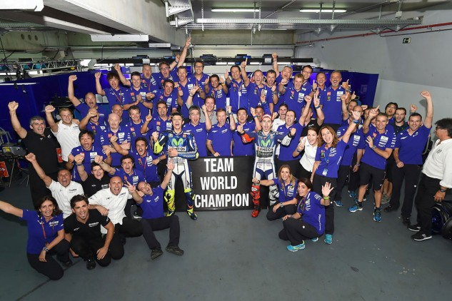 Valentino Rossi and Jorge Lorenzo still need to decide the rider championship but after the results at Aragon, Yamaha has clinched the team championship.